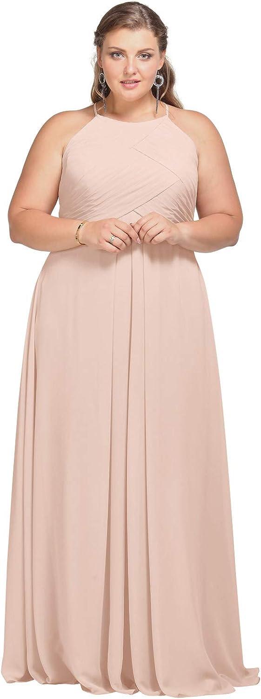 AW BRIDAL Women's Halter Chiffon Bridesmaid Dress Plus Size Long Formal Evening Gown