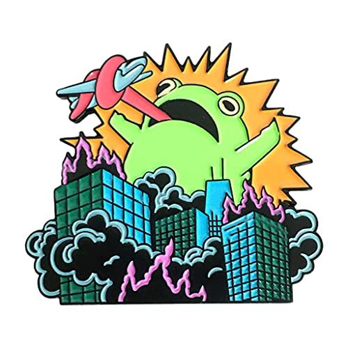 IRYNA Süße Cartoon-Emaille-Brosche im Frosch-Stil, Geschenk für Kinder, Amphibien/Frosch-Brosche, lustig, Rucksackzubehör
