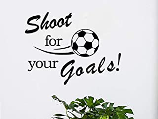 Fymural Soccer Wall Art Decals - Shoot for Your Goals Wall Football Stickers Quote Removable Vinyl Poster for Livingroom Kid Baby Nursery DIY Decoration Home Decor 23.6x17.7,Black