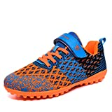 Lynxmko Unisex Kids Youth Athletic Lightweight Outdoor/Indoor Turf Comfortable Casual Cleats Soccer Shoes Girl/boy Orange/Black