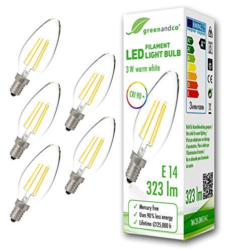 5x greenandco® CRI90+ Glühfaden LED Lampe ersetzt 30 Watt E14 Kerze, 3W 323 Lumen 2700K warmweiß Filament Fadenlampe 360° 230V AC nur Glas, nicht dimmbar, flimmerfrei, 2 Jahre Garantie