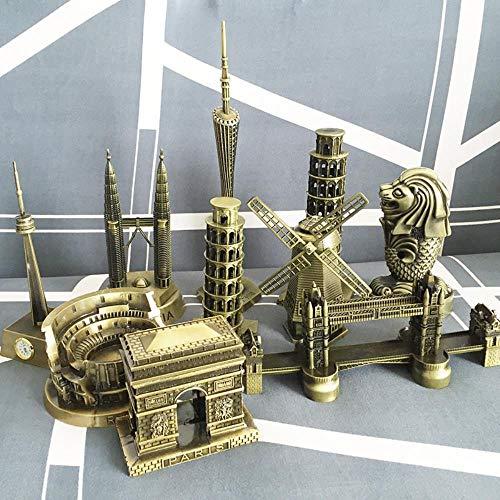 Decoracion Escultura Estatua Elección De Regalo Popular Monumento De Fama Mundial Souvenir Artesanía De Metal Coliseo De Roma Cn Canton Twin Puente De La Torre De Pisa, 10 Cm Arco De Triunfo