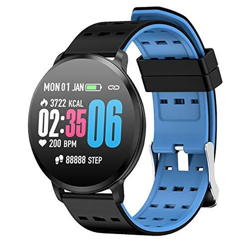 Huante T8 Pulsera de presión arterial HD, monitor de actividad física, monitor de ritmo cardíaco, recargable, podómetro, reloj inteligente azul