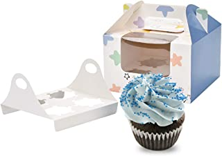 YuSang Cupcake Boxes Gift Bakery Holders with Windows Cupcake Cookies Muffin Candy Containers for Holiday Party Wedding Favor(4 holders,12pcs)(blue)