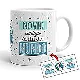 Kembilove Tazas de Café para Familiares – Taza con Mensaje Novio contigo al Fin del Mundo –...