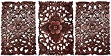 Set of 3. Wall Art Wood Carved Panel Floral Design. Tropical Wall Decor in Size 12'x17.5'x0.5' (Dark Brown)
