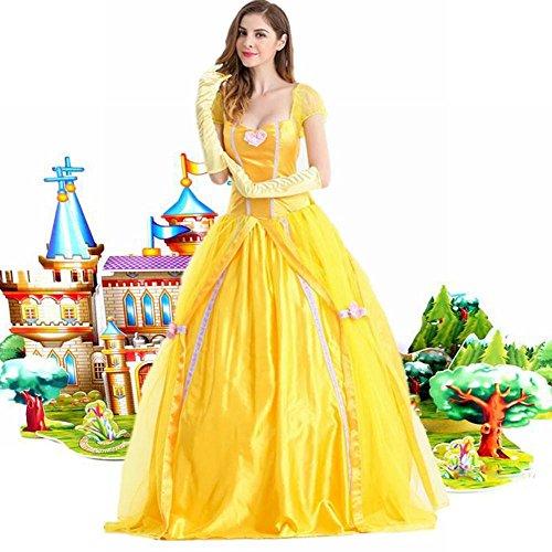 WEII Costume da Spettacolo di Halloween Costume da Principessa per Adulti Costume da Principessa Belle,Immagine,S