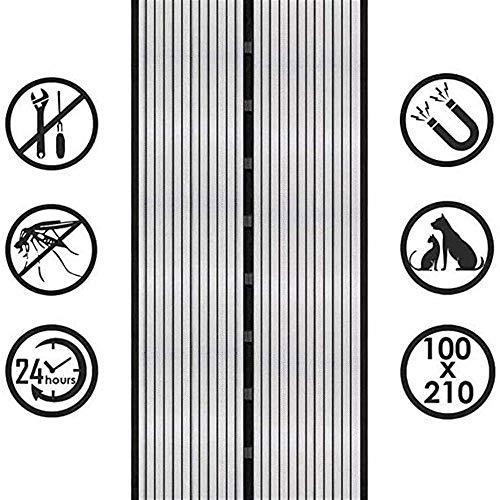 Elektromagnetische afscherming deur Magnetische vlieg Insect Screen Deur Elektromagnetische Gordijn is ideaal voor balkondeuren, Geen noodzaak om gaten te boren, Magnetische Gordijnen zijn zeer geschikt voor kelderdeuren, Zwart