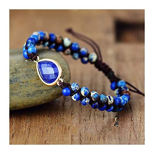 XYBB Stone Charm Bracelets Japser String Braided Strand Bracelets Yoga Friendship Lover Wrap Bracelet Jewelry (Metal Color : Lapis Women Size)