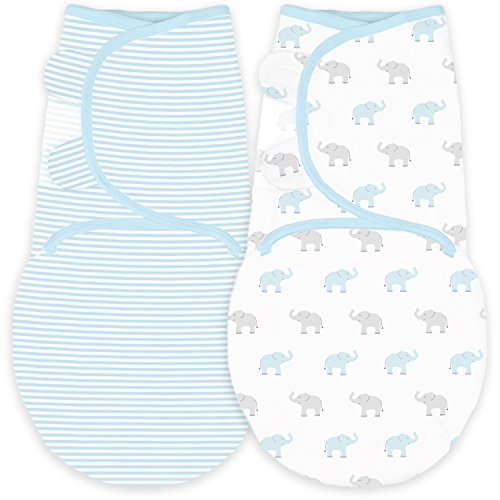 Amazing Baby Swaddle Blanket with Adjustable Wrap Set of 2 Tiny Elephants and Stripes Pastel Blue Small