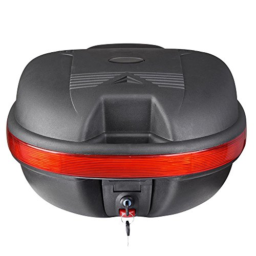30L Motorcycle Tail Box 17-11/16'x15-5/16'x11' Durable ABS Plastic Comes With Reflectors Backrest Includes Lock Two Keys US Delivery