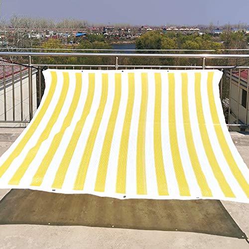 Velas de Sombra Paño de Protección Solar de Rayas Blancas Amarillas para Cortinas de Cubierta de Piscina de Pérgola de Invernadero Al Aire Libre, Exterior/Malla de Sombra de Balcón con Ojales