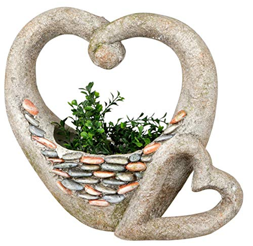 dekojohnson tuindecoratie hart bloempot rustiek 42 cm hoog grote plantenbak binnen/buiten plantenpot/plantenbak