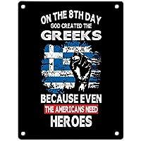 8日目に神はギリシャ系アメリカ人の英雄を作成しました装飾的な壁ブリキのサインピンナップ金属の装飾壁アートガレージショップバーの洞窟-20x30cm