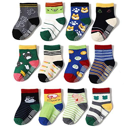 2020 Autumn And Winter Cartoon Children's Cotton Socks Non-Slip Floor Socks 12 Pairs of Baby Boys Anti-Skid Socks,L