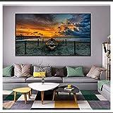 CAPTIVATE HEART Pintura de Arte en Lienzo 30x50cm sin Marco Sunset Beach View Wall Art Posters e Impresiones Paisaje Imágenes de Arte nórdico Decoración de la Pared del hogar