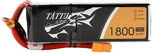 Tattu LiPo Battery Pack 1800mAh 75C 3S 11.1V with XT60 Plug for RC Helicopter Airplane Drones FPV