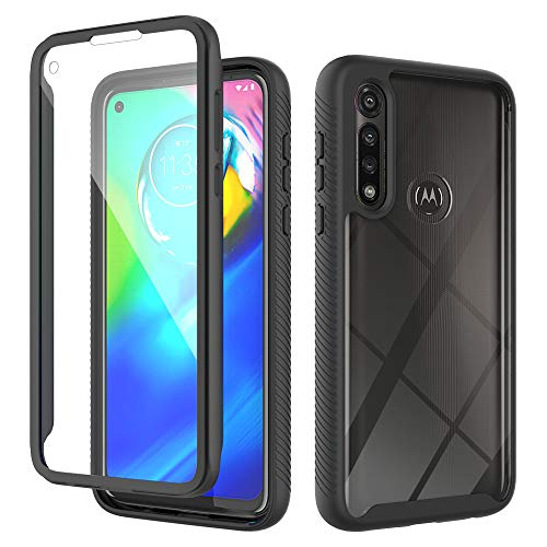 MMY Moto G Power 2020 Case Built-in Screen Protector Shockproof Anti-Slip Full-Body Protective Phone Cover Case with Clear Backplate Slim Fit Case for Motorola Moto G Power 2020 Phone (Black+Clear)
