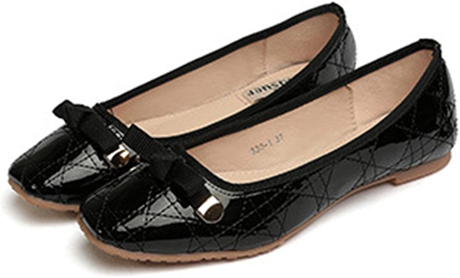 Casual Metal Lace-up Bowknot Plus Size Flat Thin shoes black 41