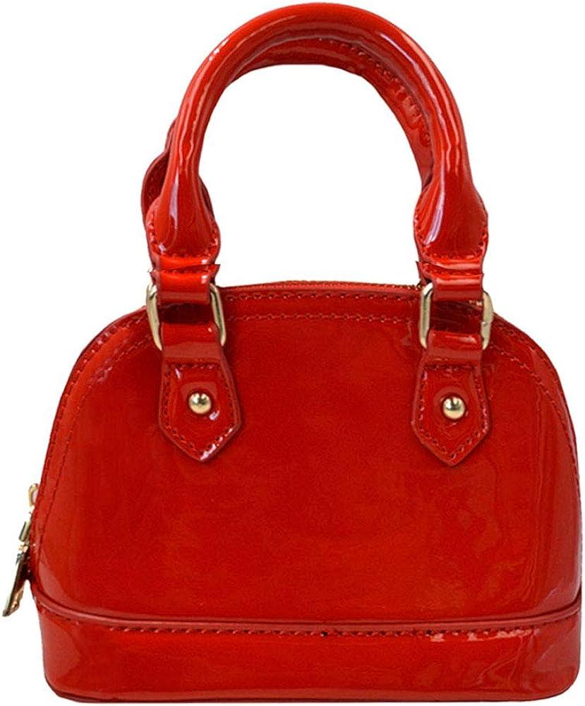 Adela Women Patent Leather Top-Handle Bag Shell Shape Purse Handbags Glossy Chain Crossbody Bag