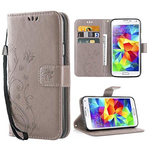 iDoer für Galaxy S5 Hülle,Solide Butterfly PU Ledercase Tasche Schutzhülle Flip Case Magnetverschluss Handyhülle im Wallet Bookstyle Standfunktion für Samsung Galaxy S5 - Grau