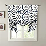 H.VERSAILTEX Blackout Curtain Thermal Insulated Adjustable Tie Up Shade Balloon Window Shade, Room Darkening Rod Pocket Curtain - 42' Wide by 63' Long - Grey and Navy Geo Pattern