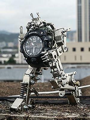 PLIENG 3D Model Kit, Creative Watch Stand Children's Phone Watch Stand Metal Hand Assembled Robot Birthday Gift,ArmyGreen
