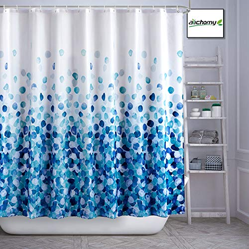 ARICHOMY Shower Curtain, Farmhouse Shower Curtain Set Bathroom Fabric Fall Curtains Waterproof Colorful Funny with Standard Size 72 by 72 (Blue)…