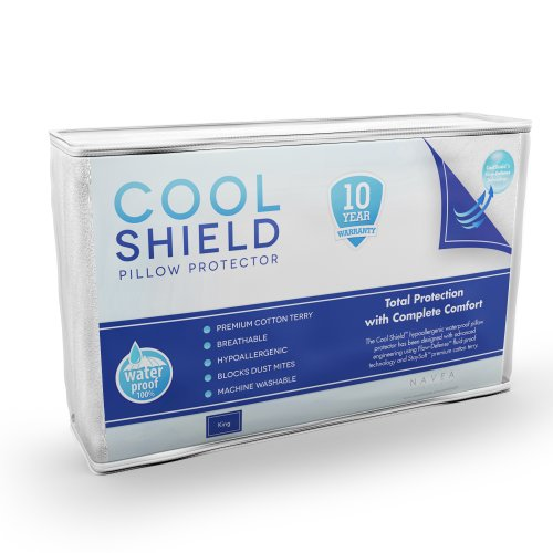 Cool Shield No Allergy Waterproof Pillow Protector (1) - Breathable Cotton Terry Zippered...