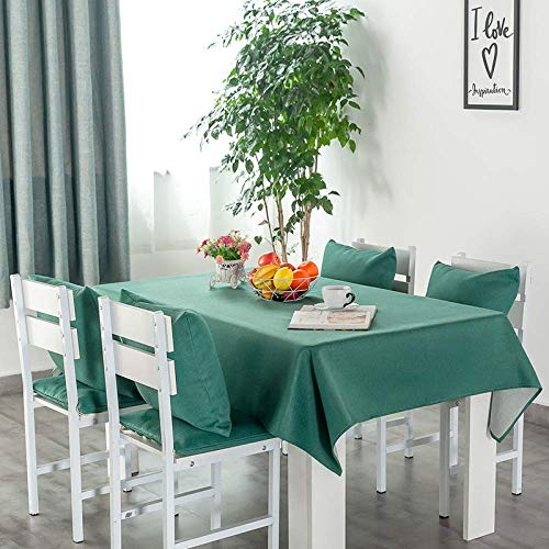 YUBIN Household tablecloth cover cloth cotton and linen blend rectangular 95 * 95cm 140 * 230cm pink blue (Color : Green, Size : 95 * 95cm)