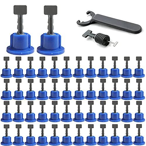 Grust 50 unidades de espaciadores de azulejos reutilizables, ajuste de nivelación de azulejos con llave especial, kits de nivelación de azulejos