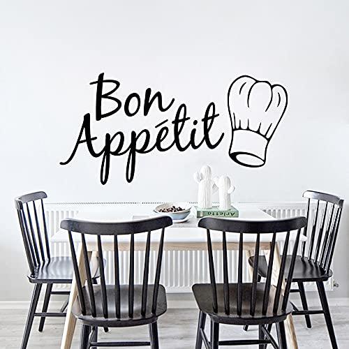 Francés Bon Appetit Decal Cita de Vinilo Pegatinas de Pared para Cocina Comedor Casa Arte Decoración