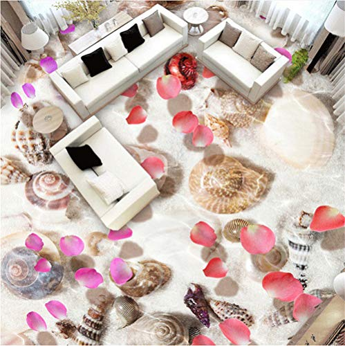 Mdddj Pvc zelfklevend, waterbestendig, 3D-tegels, wandfoto, motief: schelpen en bloemen 200 x 140 cm