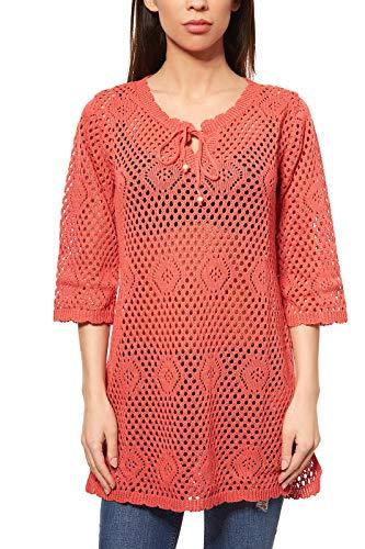 BOYSEN´S Pullover Damen Strick-Tunika Strick-Pullover Rot Ajourmuster, Größenauswahl:36/38