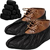 RE GOODS Shoe Covers | X Large - Extra Thick | 100 Pack | Black Disposable Boot and Shoe Booties | 35 GSM Non Woven | Non Slip - Indoor Outdoor