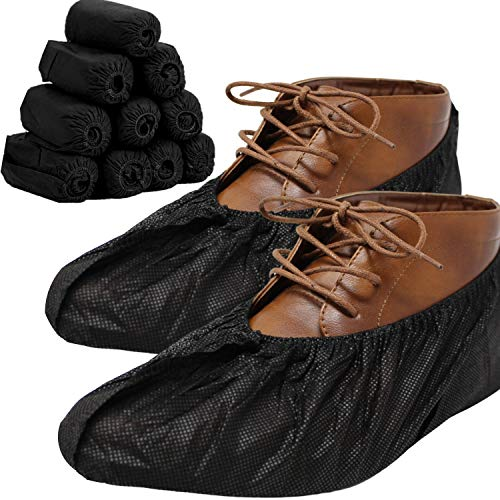 RE GOODS Large Professional Shoe Covers - 100 Pack | Sleek Black Disposable Boot and Shoe Booties | One Size Fits Most | Durable 35 GSM Non Woven Material | Non Slip - Indoor/Outdoor (Black Color)