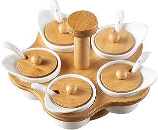 WZHZJ Boîte de rangement d'assaisonnement pour cuisine Ensemble de combinaison de bouteilles d'assaisonnement rotatif Ense...