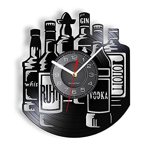 BBZZL Reloj de Pared decoración Vino Whisky Vodka Gin Botella Silueta Reloj de Pared con retroiluminación LED silenciosa Barra de decoración Colgante Sin LED