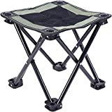 Lightweight Folding Camp Stool | Camping Ottoman Fold Up Stool Backpacking Stool Foot Rest Cliq Chair Hiking Fishing Travel Small Portable Mini Folding Chair
