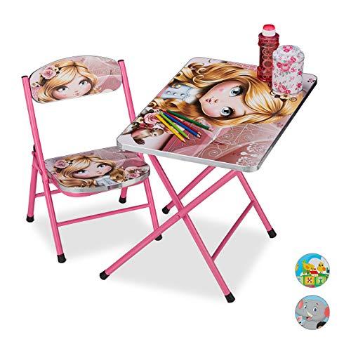 Relaxdays inklapbare kinderzitgroep, kinderklapstoel & tafel van metaal, prinsesmotief, ruimtebesparend opvouwbaar, roze, 1 stuk