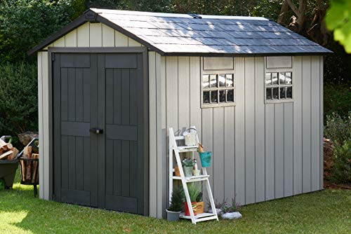 Keter Oakland Outdoor Plastic Garden Storage Shed, Grey, 7.5 x 11 feet