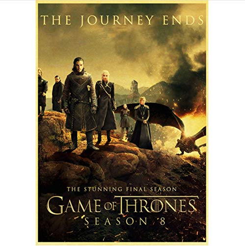 qiaolezi Print On Canvas Game of Thrones Season 8 Poster 2019 New Movie Vintage Posters Art Retro Wall Pictures For Living Room Decor A985 50×70CM Without Frame