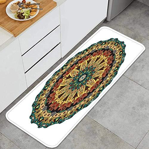 ZHIMI Multiuso Tappeti Cucina,Modello Cerchio Ornamentale Fiore Orientale,Antiscivolo Tappeti per Cucina Lavabile Tappeti Bagno Zerbino Tappeto 45 x 120cm