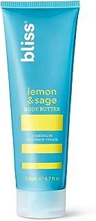 bliss Body Butter | Paraben Free Maximum Moisture Cream | 6.7 fl. oz. Body Lotion For Dry Skin | Instant Long-Lasting Moisturizer for Women & Men | Lemon & Sage