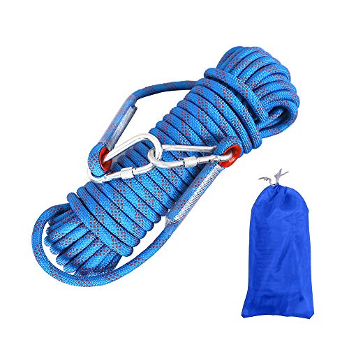 Gobesty Corda da arrampicata per esterni, 10 m, in nylon intrecciato, con moschettone, per alpinismo all'aperto, campeggio, fuga e antincendio (blu, diametro 10 mm, Colore casuale della borsa )