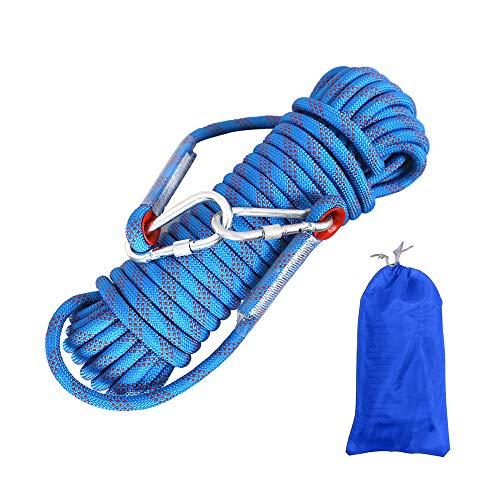 Gobesty Corda da arrampicata per esterni, 10 m, in nylon intrecciato, con moschettone, per alpinismo...