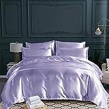 L@CR Funda Nórdica Completa con Fundas de Almohada de satén Sedoso Brillante lecho,Púrpura,Double(200 * 200cm)