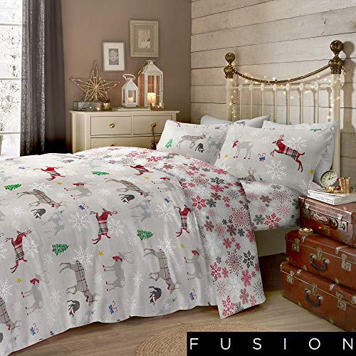 Fusion Christmas - Garland Reindeer - 100% Brushed Cotton Duvet Cover Set - King Bed Size in Multicolour