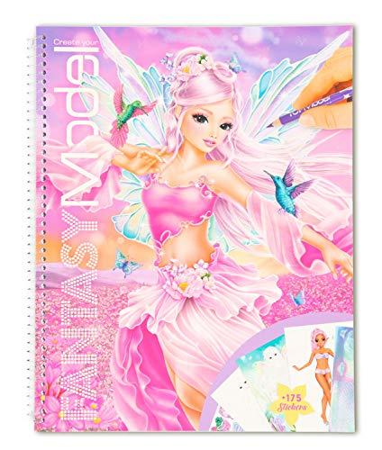 """Depesche 11430 Malbuch mit Stickern """"Create your FANTASYModel"""", ca. 29 x 23 cm groß, 78 Seiten zum Ausmalen und Bekleben, inklusive 175 Aufklebern und einer Schablone"""