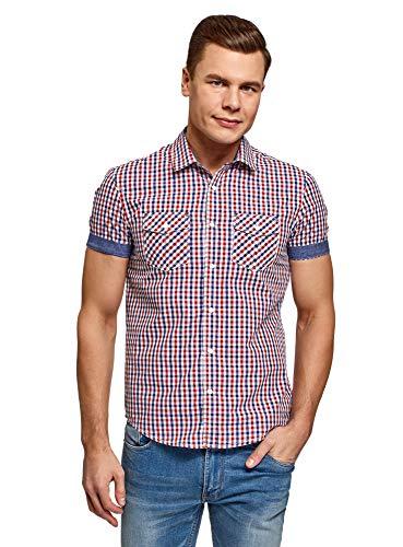 oodji Ultra Hombre Camisa Entallada con Botones a Presión, Rojo, сm 41 / ES 50 / M
